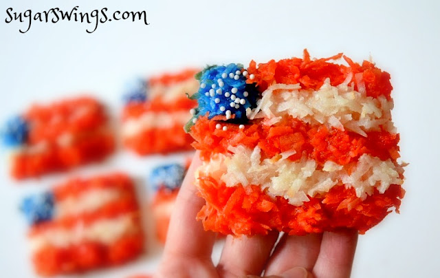 flag shaped coconut macaroons by sugarswings.com