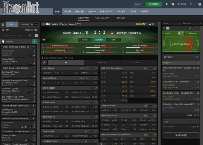 Bizonbet Live Betting Screen