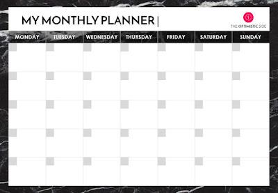 planificador mensual 2017 descargable gratuito mármol negro