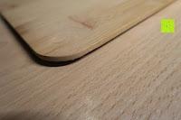 Deckel Ecke: Brotkasten aus Metall mit Deckel aus Bambus | 32 x 20 x 12 cm | Bewahren Sie Ihr Brot luftdicht und hygienisch auf