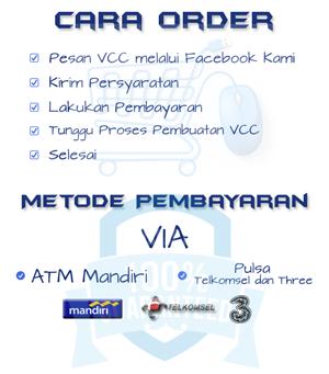 VCC Murah sekarang bisa Anda beli menggunakan metode pembayaran via Pulsa Telkomsel dan Bank Mandiri. kemudahan ini kami berikan agar pengguna PayPal yang belum mempunyai Rekening Bank dapat menikmati Akun PayPal Terverifikasi. VCC, PayPal, paypal indonesia, VCC PayPal, VCC Murah, virtual credit card, jual vcc, VCC Termurah, Verifikasi PayPal, Jasa Verifikasi PayPal, cara daftar paypal, daftar paypal, cara membuat akun paypal, cara verifikasi paypal, cara menggunakan paypal, Jual VCC Murah Terpercaya,