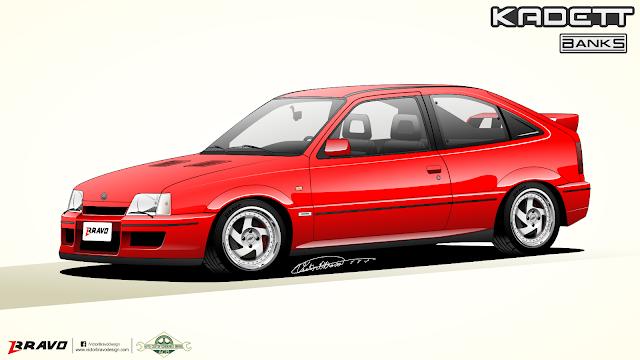 """Imagem mostrando o desenho da dianteira do Chevrolet Kadett """"Banks"""""""