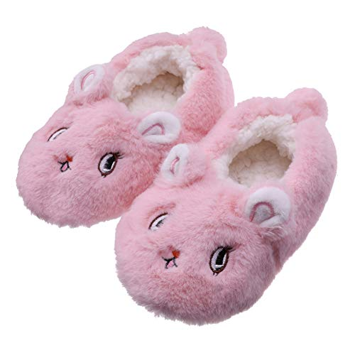 a053bf45f24 FANZERO Toddler Kids Girls Boys Cute Cartoon Soft Warm Plush Lining  Non-Slip Slippers Winter House Shoes 1-5 Year Old (M   2-3 Year Old