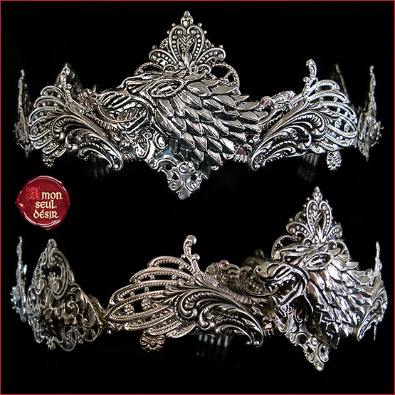 Couronne medievale loup Stark Winterfell Lady Sansa Arya Crown Wolf game of thrones circlet medieval fantasy renaissance jewelry