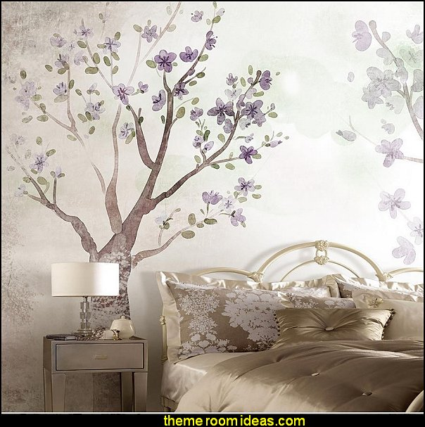 floral tree wallpaper mural  Tree Murals - tree wall decals - tree wall murals - Tree Wallpaper - tree wall stickers -  decorating with trees - tree wallpaper mural - Outdoor Bedroom decorating ideas - birch trees - forest trees wallpaper murals - tree props
