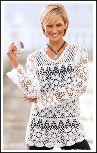 Blusa Branca em Crochê com Gráfico dos Pontos Utilizados - Katia Ribeiro  Crochê Moda e Decoração fd1a2130cd2