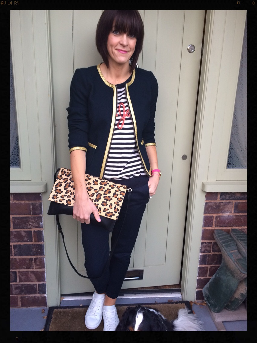 My Midlife Fashion, Banana Republic, Navy Jacket, Metallic Edging, Stripes, Sequins, Wallis, Leopard Print, Animal Print, White trainers, trainers, zara, mango, olivia burton