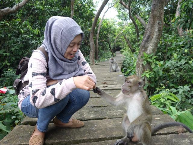 Kak Farida dengan Monyet di Pulau Kembangan