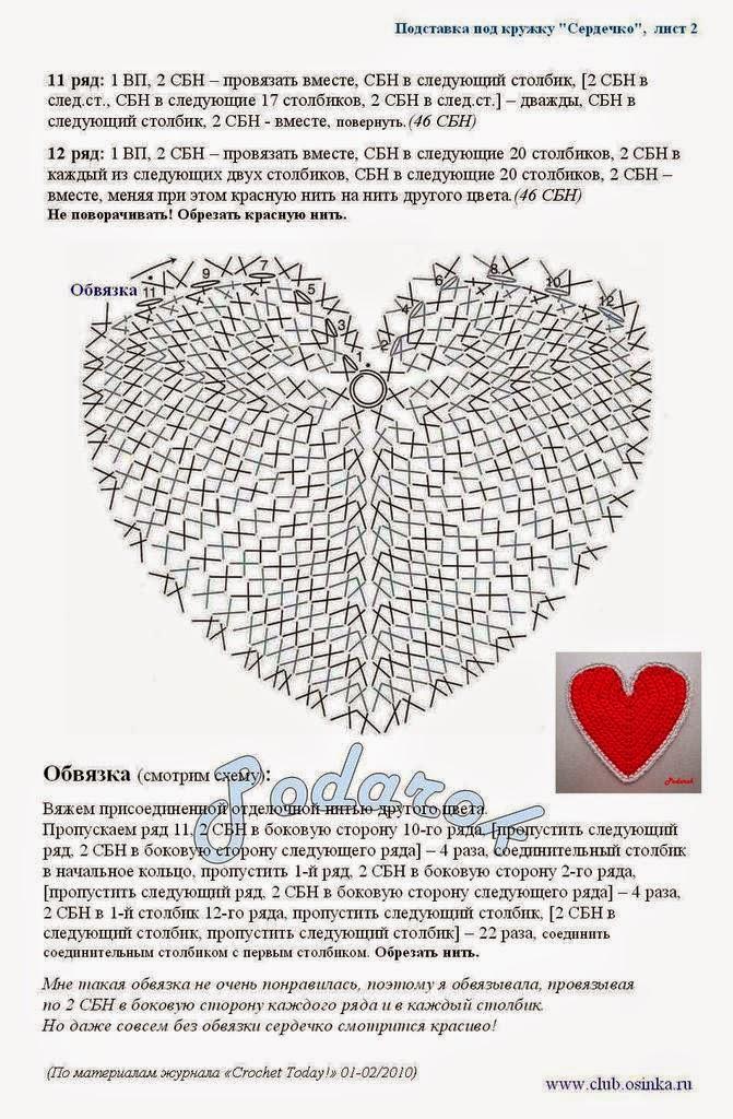 Posavasos con forma de corazón | Crochet y Dos agujas - Patrones de ...