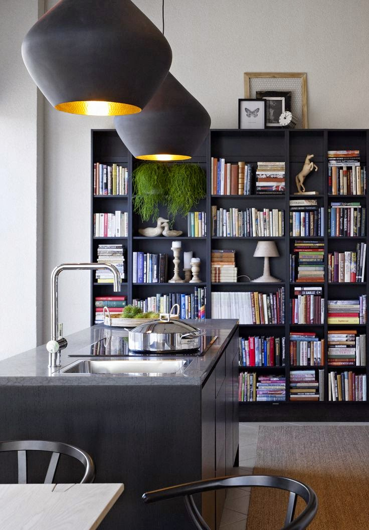 how to use bookshelves in the kitchen design