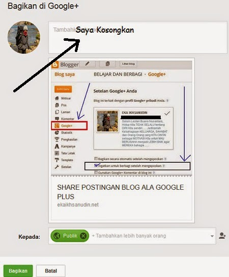 SHARE POSTINGAN BLOG ALA GOOGLE PLUS