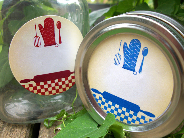 country gingham kitchen canning labels