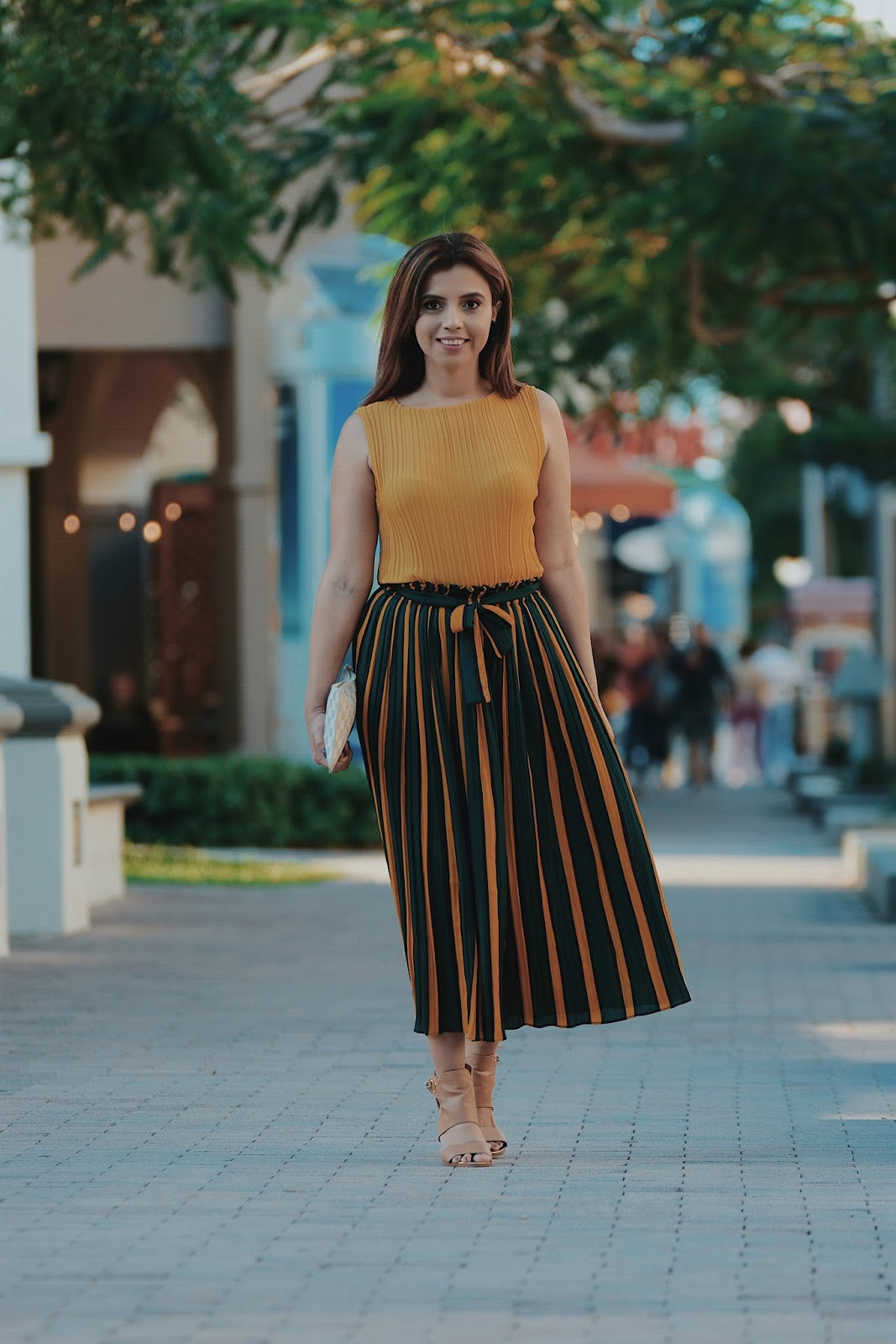 Pleated Top With Color Block Striped Gaucho Pants by Mari Estilo