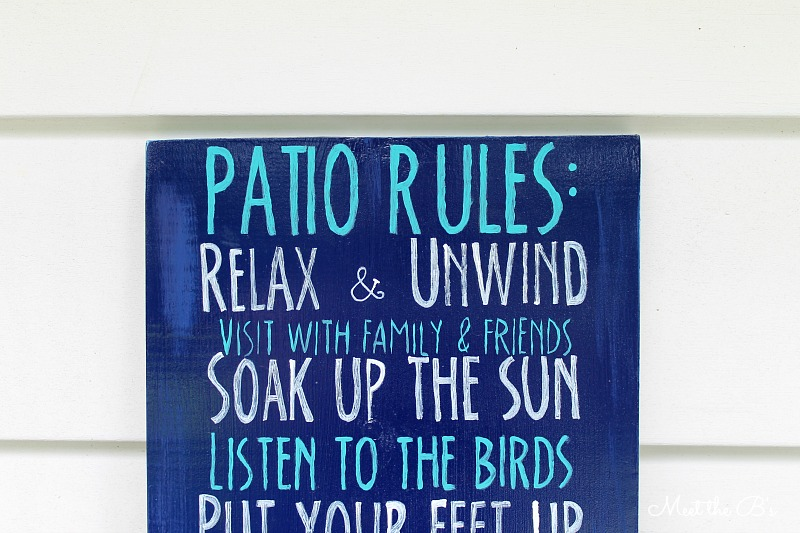 "DIY painted ""Patio Rules"" sign 