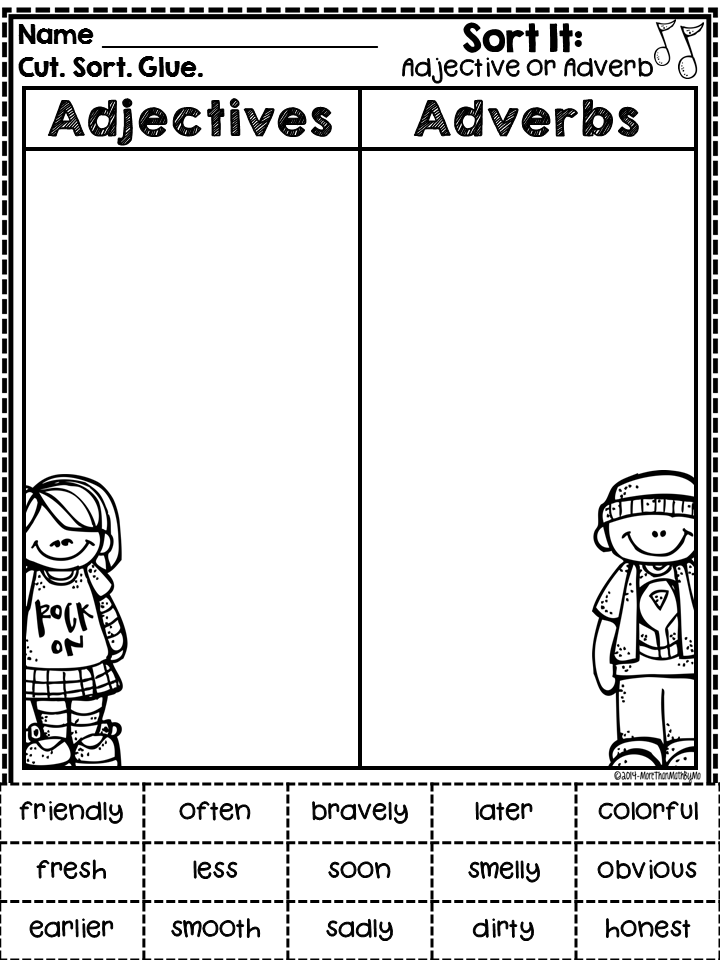 More Than Math by Mo Worksheet Wednesday Linky Freebies Galore – Adjective Adverb Worksheet