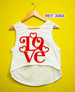 Regata Cropped Tshirt Feminina Atacado love