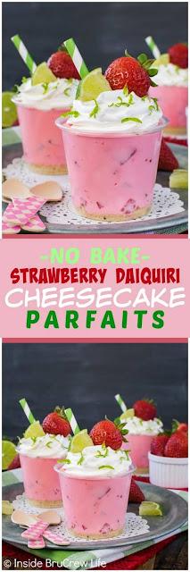 NO BAKE STRAWBERRY DAIQUIRI CHEESECAKE PARFAITS
