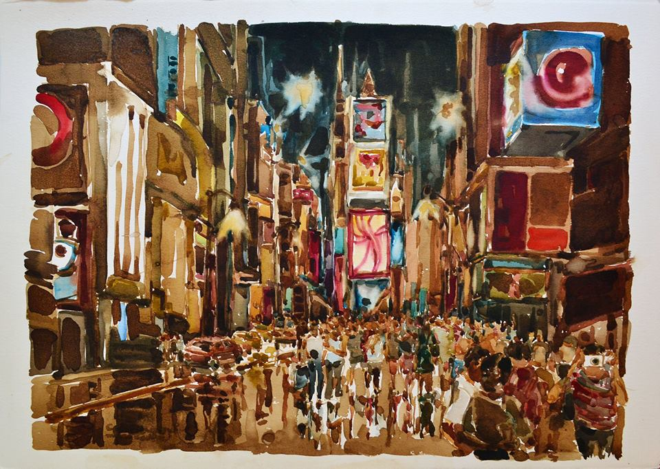 Octavio Paniagua. Times Square (Watercolor on Paper)