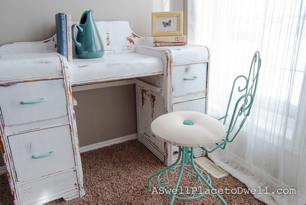 Milk Paint Vanity and Chair.  www.aswellplacetodwell.com