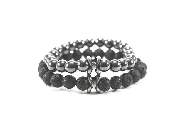 pulseiras masculinas prata e preto de bolinhas