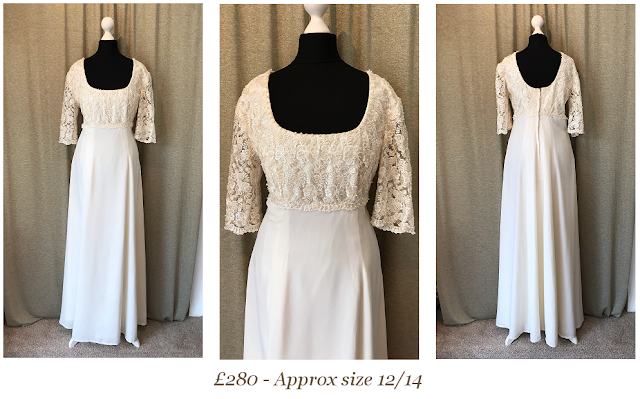lace long sleeve simple bohemian vintage wedding dress available from vintage lane bridal boutique bolton manchester lancashire