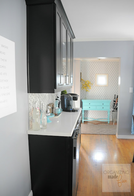 View from dining area of entry with turquoise entry table :: OrganizingMadeFun.com