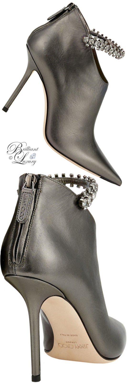 optimized pins Brilliant Luxury ♦ Jimmy Choo Blaize Anthracite Metallic Nappa Leather Booties with Crystal Strap #brilliantluxury