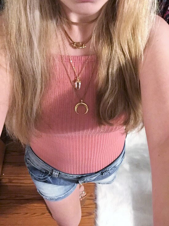 mauve pink ribbed crop top outfit of the day
