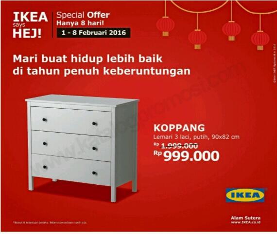 Promo Ekia Terbaru Edisi Spesial Offer Lemari 3 Laci Hanya Rp 999.000 Berlaku 1 - 8 Februari 2016