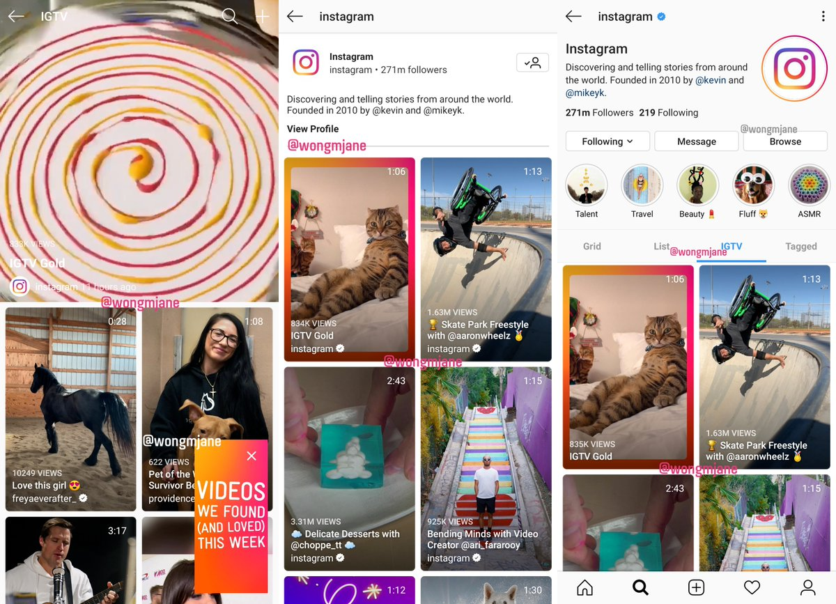 Instagram is testing new IGTV-related UI: New IGTV Browsing UI (Pane #1) - Picture-in-Picture IGTV (Pane #1) - IGTV-specific Profile Page (Pane #2) - IGTV Tab in Profile (Pane #3)