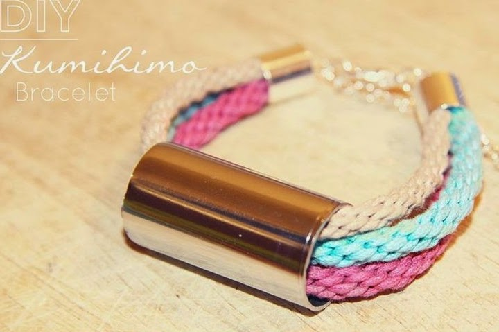 Kumihimo braided bracelet... free instructions... made with embroidery floss or cording  metal tubing
