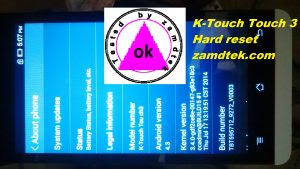 K-Touch Touch 3 Hard reset