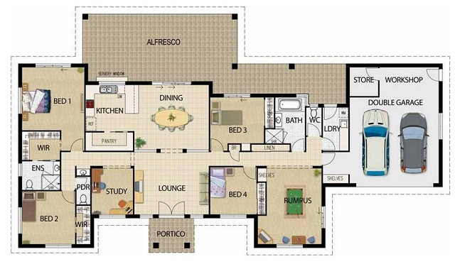 Plano de casa de 252 m2 planos de casas gratis y modernas - Planos de casas modernas de una planta ...