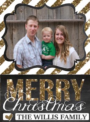 Chalkboard Christmas card Glitter