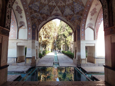 The trees and the mansion of Fin Garden in Kashan.