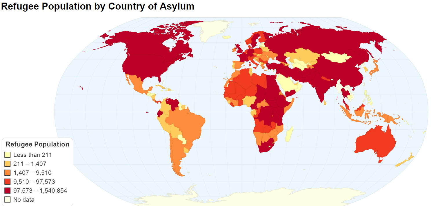 Refugee population by country of asylum