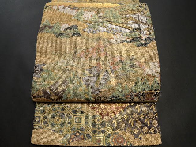 金沢城と徽軫灯籠が描かれた丸帯のお太鼓