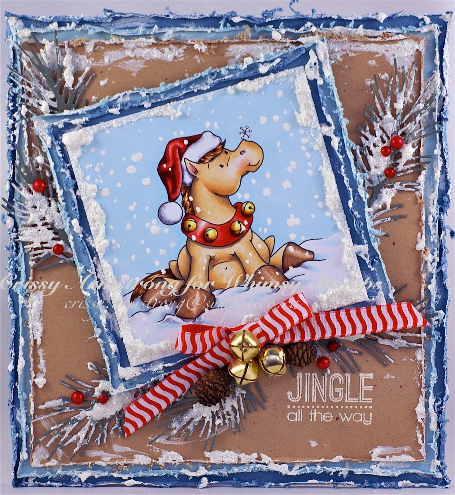 """Another Christmas card to share with you today, using """"Horsey Holidays,""""  one of my digi's. The digi shop is closing at the end of Dec, and right now  all my ..."""