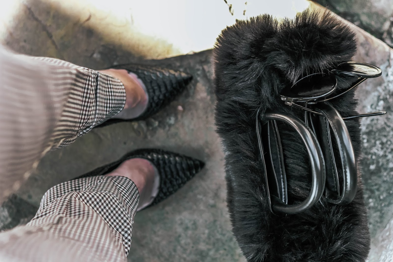 Zara Black Faux Fur Tote Handbag