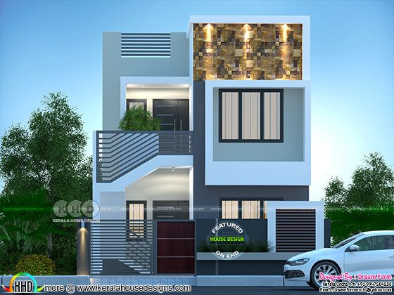 Small double storied duplex house rendering