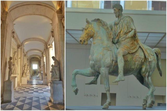 Sala en los Musei Capitolini en Roma – Estatua ecuestre de Marco Aurelio