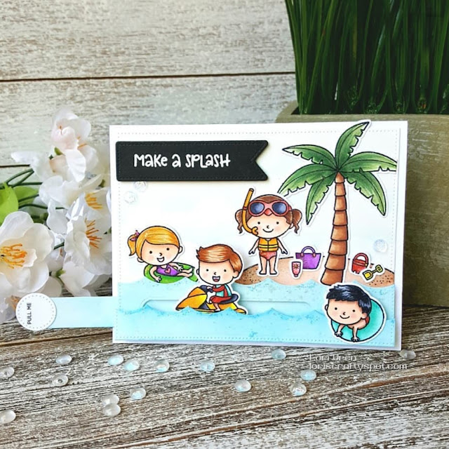 Sunny Studio Stamps: Beach Babies Summer Customer Card by Lori Uren