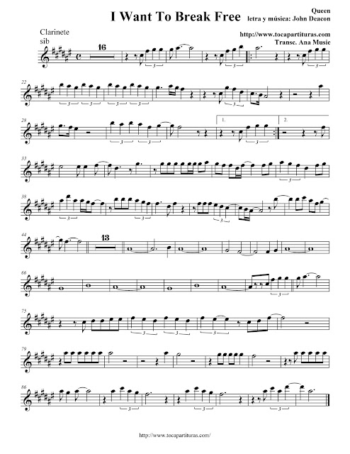 I Want To Break Free - Queen - Partitura Clarinete,  Trompeta, Saxo Soprano y Saxo Barítono (sib) - Clarinet, trumpet , tenor saxophone and soprano sax Sheet music
