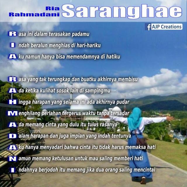 Kreasi Arti Nama - Ria Rahmadani - Tema Saranghae