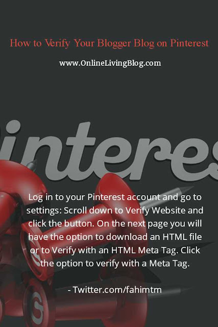 How to Verify Your Blogger Blog on Pinterest