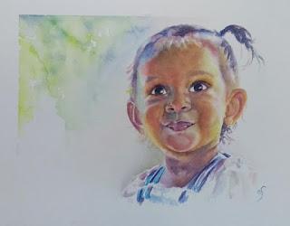 Retrato en acuarela de niña