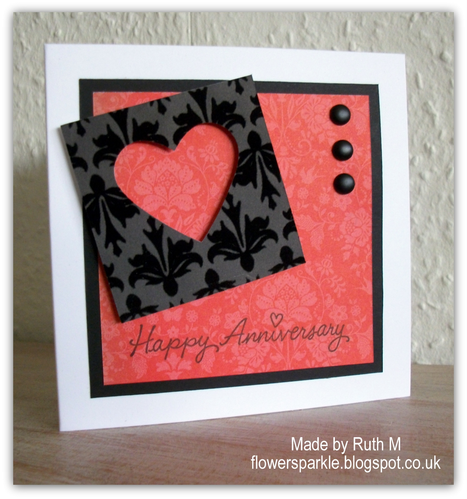 Flower Sparkle Heart Happy Anniversary Card For Hubby