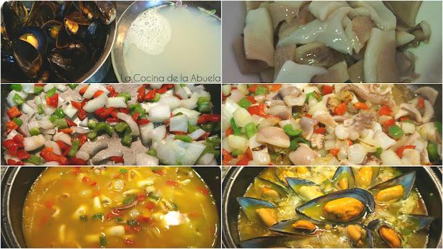 arroz mejillones paella sencillo pasos receta