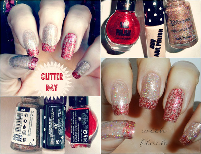 beige gold nails with red and gold sequined top coat decoration