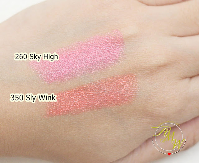 a swatch photo of Estee Lauder NEW Pure Color Love review in Sky High and Sly Wink